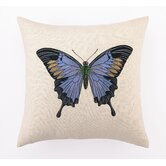 Butterfly I Down Filled Embroidered Linen Pillow