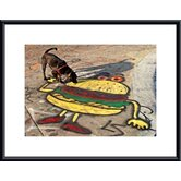 Dog and Hamburger Metal Framed Art Print