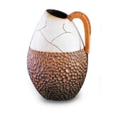 White Wicker Handled Vase