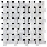 "12"" x 12"" Honed Basketweave Marble Mosaic in Bianco Carrara"