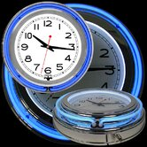 "14"" Double Ring Neon Clock Blue Outer and White Inner"