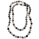 36 Inches Black Rutilated Quartz Knotted Necklace
