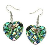 Heart Abalone Shell Dangle Earrings