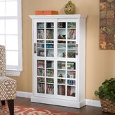White Windowpane Media Cabinet