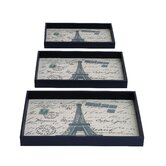 Paris Themed Rectangular Serving Tray (Set of 3)