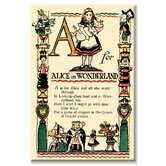 A for Alice in Wonderland by Tony Sarge Vintage Advertisement on Canvas