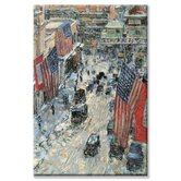 Flags on Fifth Avenue, Winter 1918 Canvas Wall Art