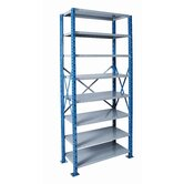 "H-Post Shelving 123"" High Capacity Open Type Starter Unit and Optional Add-on Unit with 8 Shelves"