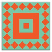 Folksy Love Decorative Tile in Checkers Red/Orange-Green