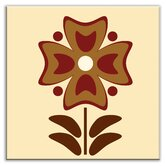 Folksy Love Decorative Tile in Gardenia Burgundy