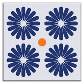 Folksy Love Decorative Tile in Pinwheels Blue
