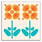 Folksy Love Decorative Tile in Pressed Flowers Orange