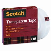 "Transparent Glossy Tape, 1/2"" x 36 Yards, 1"" Core, Clear, Six per Box"