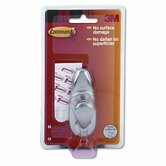Scotch Command Adhesive-Mount Metal Hook, Medium, Brushed Nickel Finish