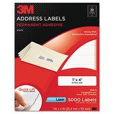 Permanent Adhesive White Mailing Labels, 1 x 4, White, 5000 Labels/Pack
