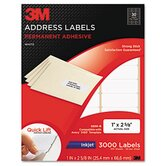 Permanent Adhesive White Inkjet Mailing Labels, 750/Pack