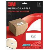 "Shipping Labels,Laser Paper,2""x4"",250/PK,White"
