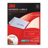 "Address Labels,Laser Film,1-1/3""x4"",700/PK,Clear"