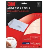"Address Labels,Inkjet Film,1""x2-5/8"",300/PK,Clear"