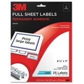 "Full Sheet Labels, Laser Paper, 8-1/2""x11"",25 per Pack,White"