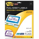 Post-it Full-Sheet Labels (25 Per Pack)