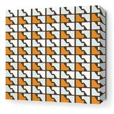 Estrella Faux Houndstooth Stretched Wall Art in Sunshine