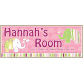 Personalized Canvas Elephant Girl Name Sign