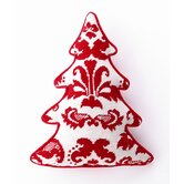 Red Toile Tree Shaped Pillow