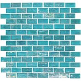 "Geo Glass Brick 12"" x 12""  Glass Mosaic in Blue"