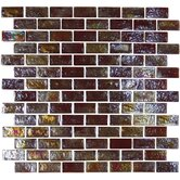"Geo Glass Brick 12"" x 12""  Glass Mosaic in Brown"
