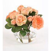 Silk Roses and Buds in Rose Bowl