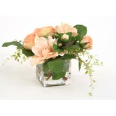 Silk Roses and Gardenias in Cube Vase