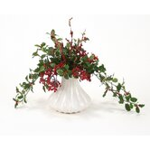 Silk Holly and Berry Arrangement in White Ceramic Fluted Vase