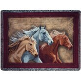 Three Horses Tapestry Throw
