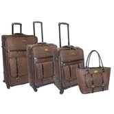 Matte Croco 4 Piece Luggage Set