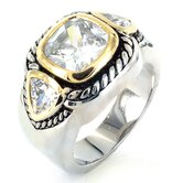Silvertone Cubic Zirconia Three Stone Ring