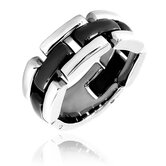 Men's Stainless Steel and Ceramic Linked Comfort Fit Ring