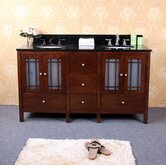 "60"" Double Bathroom Vanity Set in Dark Walnut"