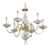 Classic Ceramic 6 Light Chandelier with Ceramic Shade