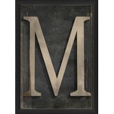 Letter M Framed Textual Art in Black and Gray