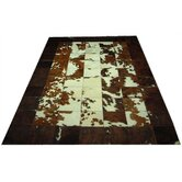 Medium Bronze Border Haired Cowhide Rug