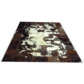 White Spotted Center Haired Cowhide Rug