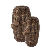 Dark Abaca Tasseled Basket