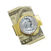 Half Dollar Goldtone Money Clip