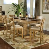 Latitude Rectangular Pedestal Pub 7 Piece Dining Table Set in Distressed Natural Pine