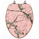 RealTree Camouflage Elongated Pink Camouflage on Oak Toilet Seat with Regular CP Hinges