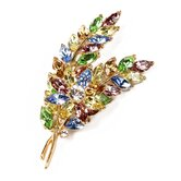 Pastel Crystal Double Leaf Brooch