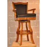 "Monticello 30"" Leather Swivel Bar Stool in Burnished Oak"