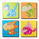 Dinosaur Pals Set of 4 Coloured Background Canvas Print