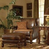 Windsor Court Wood Trim Leather Club Chair in Brown